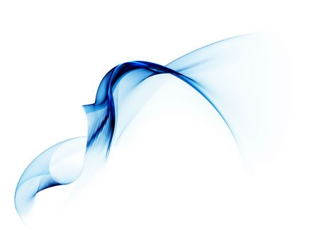 Blue veil in the wind, with copy space on a white background