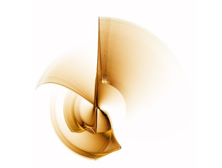 Abstract illustration of golden gear rotating, circular abstract motion on white background   illustration