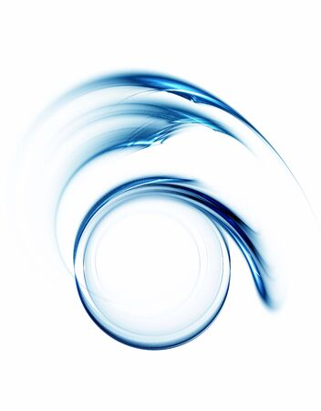Blue circular abstract motion on white background, circle in rotation,