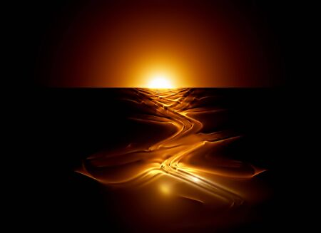 River of molten lava flowing from volcano, abstract illustration