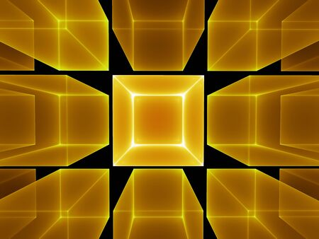 Abstract illustration of golden cubes perspective on black background illustration
