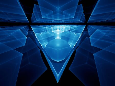 diminishing view: Blue geometrical perspective stretching off to infinity