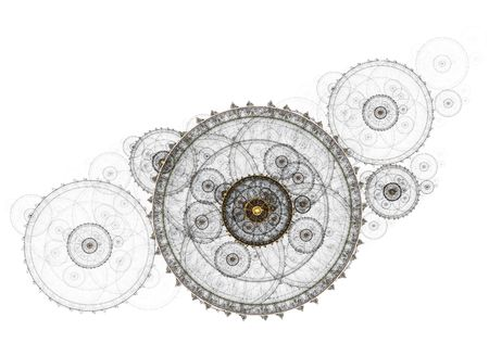 light transmission: Connection concept, abstract illustration of ancient mechanism, metallic cogwheel,