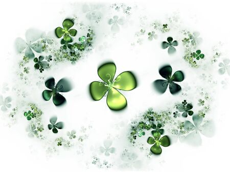 Abstract illustration of a   four-leafed clovers field Stock Illustration - 4402444