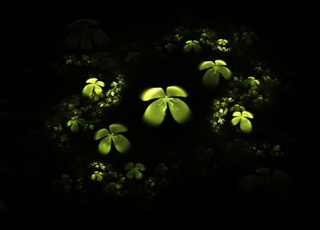 Abstract illustration of a  four-leafed clovers field on white background Stock Illustration - 4402450