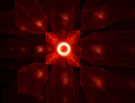 stellar: Abstract illustration of red cubes horizon on black, perspective view