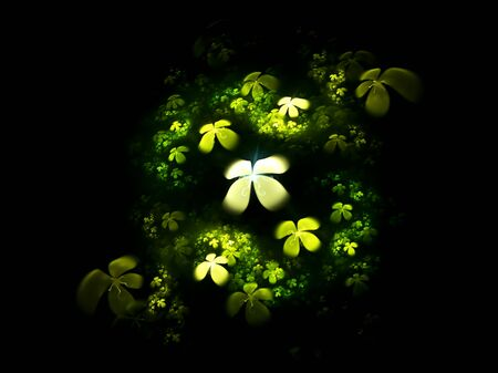 Shamrock, abstract illustration of a  four-leafed clovers field on black background illustration