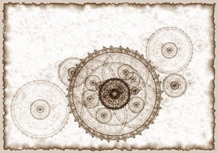 Connection concept , abstract illustration of ancient project of a mechanism,  写真素材