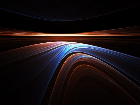 diminishing view: Abstract illustration of  colorful horison on black stretching off to infinity