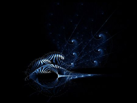 Abstract composition, blue  fantasy space shells on black background,  Foto de archivo