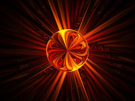 Abstract illustration of radiate bright red energy ball illustration