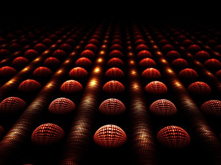 Abstract illustration of shiny spheres and tubes in a row stretching off to infinity Stock Illustration - 4575176