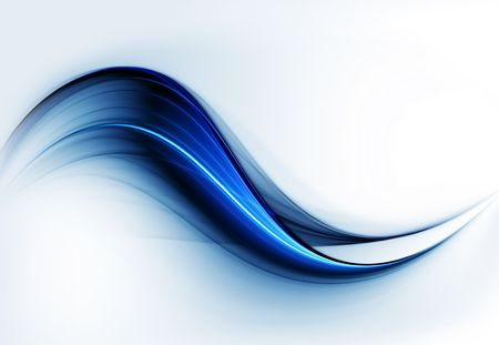 Dynamic abstract background, blue wavy motion lines on white background 写真素材
