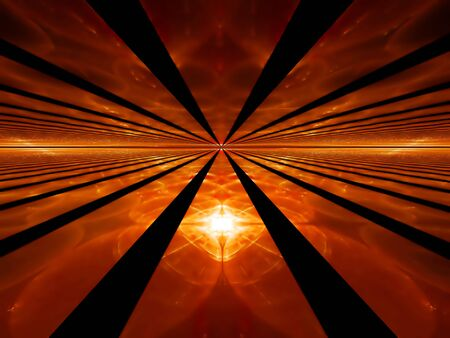 Abstract illustration of fiery rays of red dawn stretching off to infinity           illustration