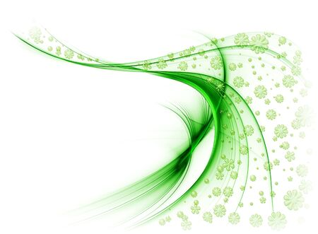 looping: Green veil of flowers in the wind, on a white background