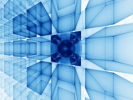 stellar: Abstract illustration of blue cubes perspective on white background