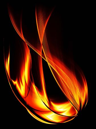 Burning flame on a black background, abstract illustration Stock Photo