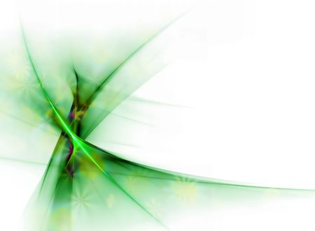 Elegant green floral veil in the wind, with copy space on a white background photo