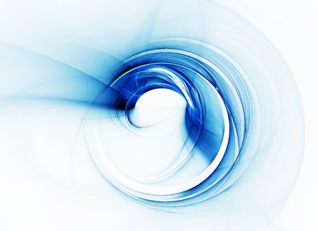 Whirlpool, blue vortex as a metaphor of speed and power on white background