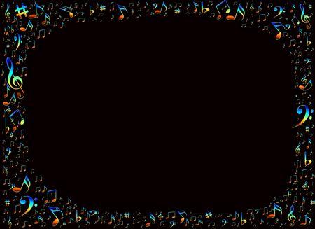 clave de fa: Notas musicales de colores frontera con copia espacio