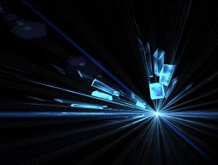 Explosion, broken glass, burst of light,