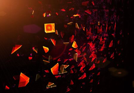 particles: Explosion, broken glass, scattered particles, abstract illustration