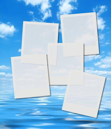 horison: blank instant photo frames over  summer horison image, high