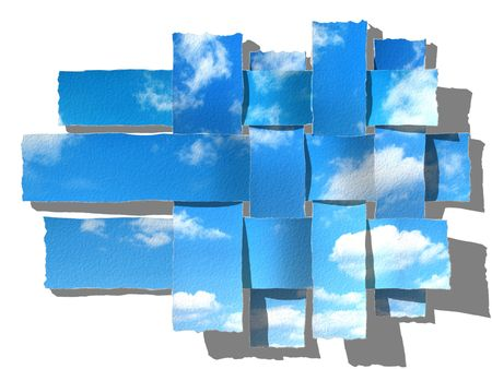 sparse: woven blue sky with fluffy clouds
