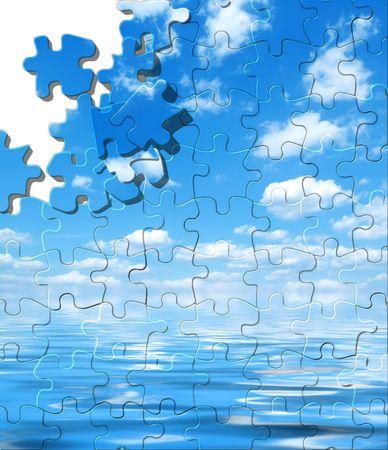 Blauer Himmel mit Wasser Reflexion Puzzle mit Vertriebenen Stück Standard-Bild - 4915151