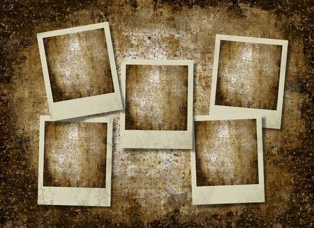 vintage instant photo frameworks against an old paper, grunge background 写真素材