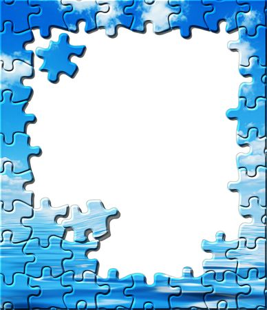Blue sky with water reflection puzzle frame with copy space photo