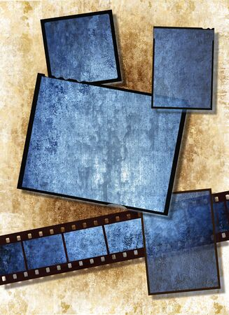 Film strip and film plates with blue vintage grunge texture, high detail photo