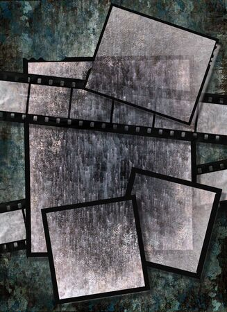 Film strip and film plates with vintage grunge texture, high detail photo