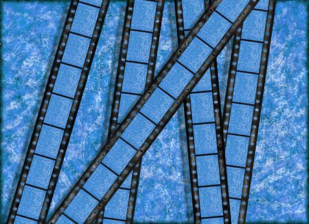 Blue vintage grunge background, old paper with film strips photo