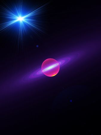 Abstract illustration of planet with rays of light illustration