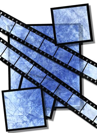 blue film strip and film plates with  vintage grunge texture, high detail photo