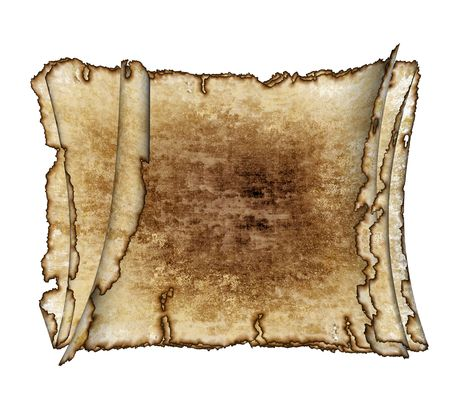 burnt edges:  three  grunge vintage textured parchment scrolls, antique background texture of a paper pages, highly detailed Stock Photo