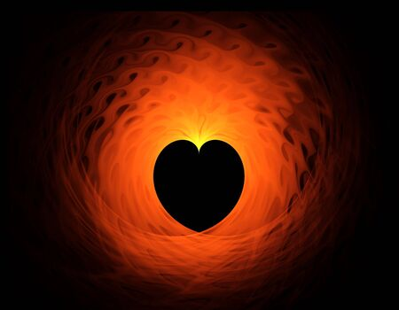 Abstract blazing red heart on black background