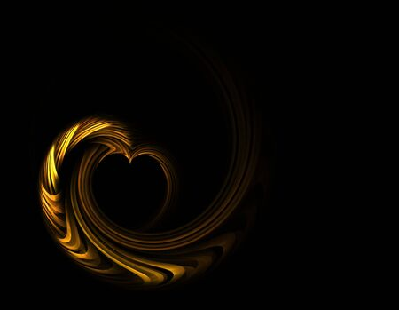 Shiny metallic golden heart with copy space on a black background photo