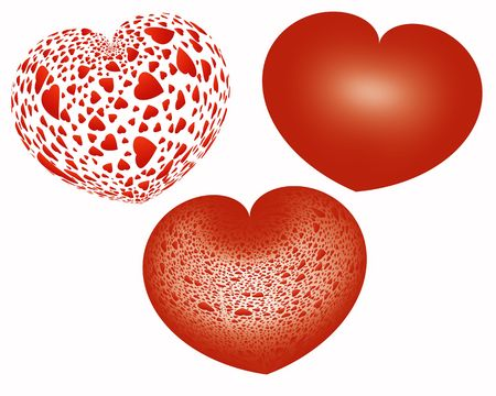 valentineday: three red hearts, valentine�s day background Stock Photo