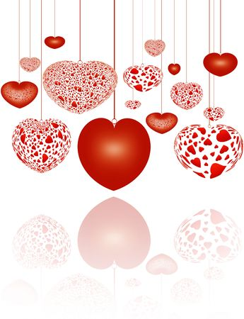 valentineday: decorative red hearts on strings over white background Stock Photo