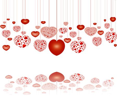 valentineday: decorative red hearts on strings with reflection, over white background