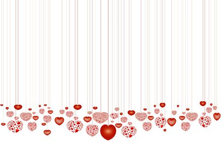 adoration: Lots of decorative red hearts, over white background