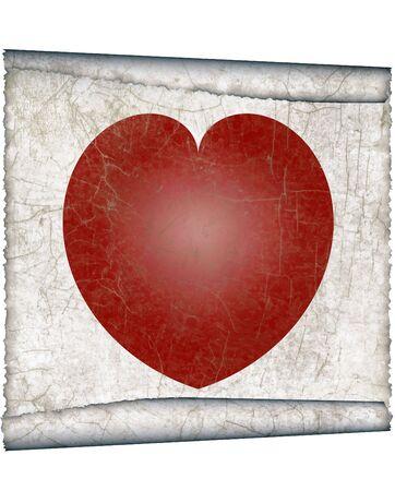 valentineday: vintage heart,  antique parchment paper scroll