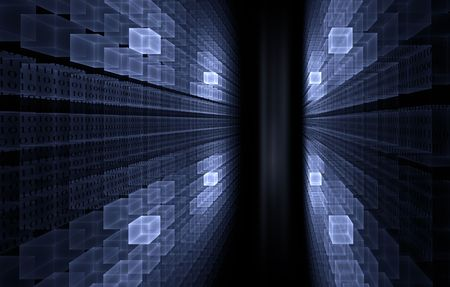 blue cubic perspective with   binary code data flow Stock Photo