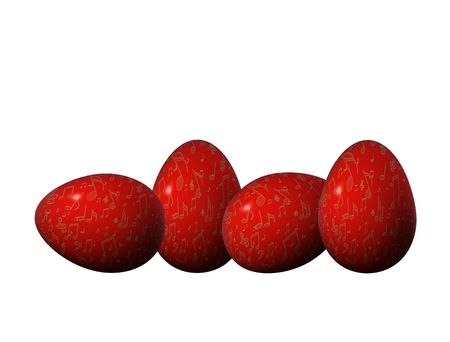 four red easter eggs  with  golden musical notes decoration Stock Photo - 6417247