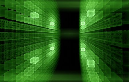 green cubic perspective with   binary code data flow photo