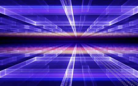 Concepto de Internet, flujo de datos de código binario, comunicación, fondo de estilo de la tecnología  Foto de archivo