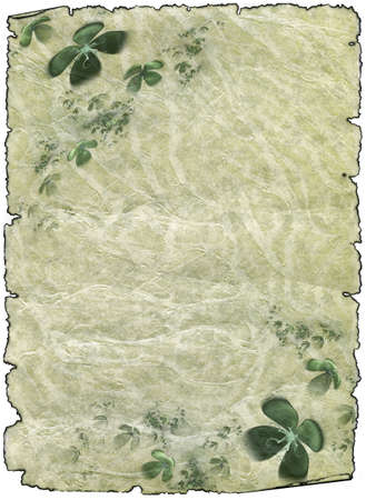 vintage grunge textured parchment scroll with four leafed clover, antique background texture of a paper page