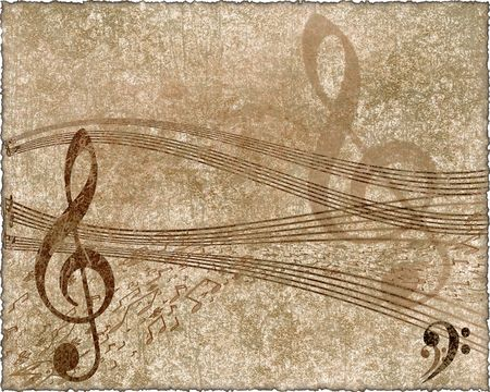 old paper with violin key and  music notes  in retro style        写真素材